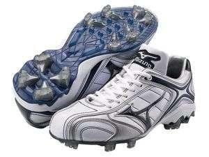 Mizuno Baseball Cleats White Silver Blue Mens Sz 10 Softball