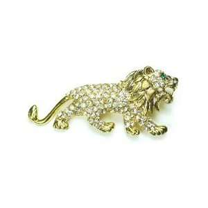 Clear Austrian Rhinestone Lion Gold Tone Brooch Pin Jewelry