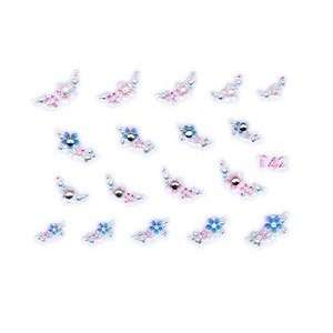 Periwinkle & Pink Floral Rhinestone Nail Stickers/Decals Beauty
