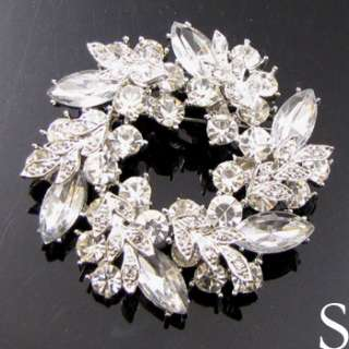 Item FREESHIPING Austrian rhinestone crystal Wreath Brooch Pin wedding